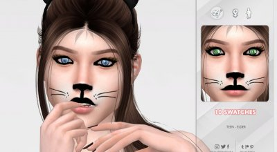 Кошачий принт на лице 01