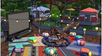 Палаточный лагерь с кинотеатром