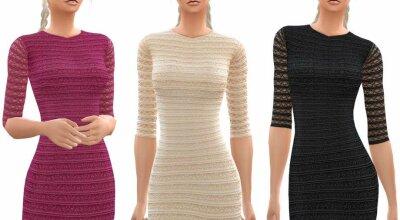 Полосатое Кружевное Платье