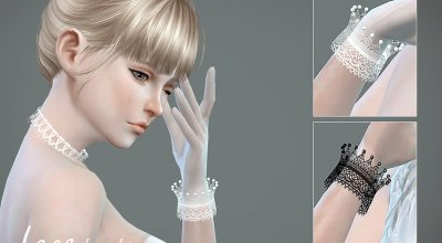 Кружевной браслет и перчатки