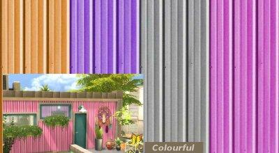 Разноцветный металлический забор