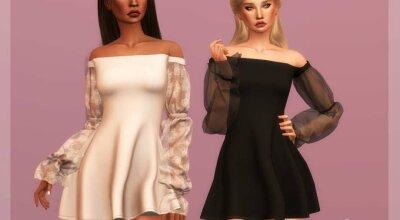 Платье без плечей DR358