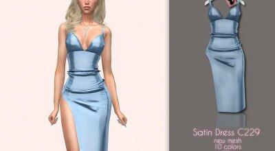Сатиновое платье C229