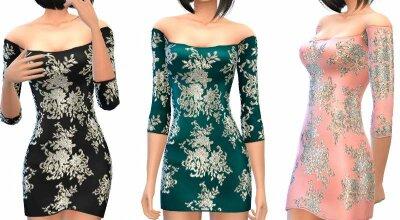 Цветочное платье с блестками
