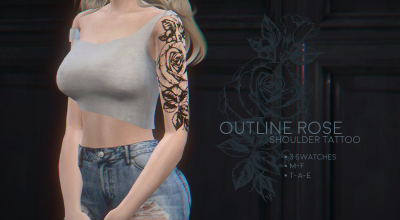 Татуировка Outline rose